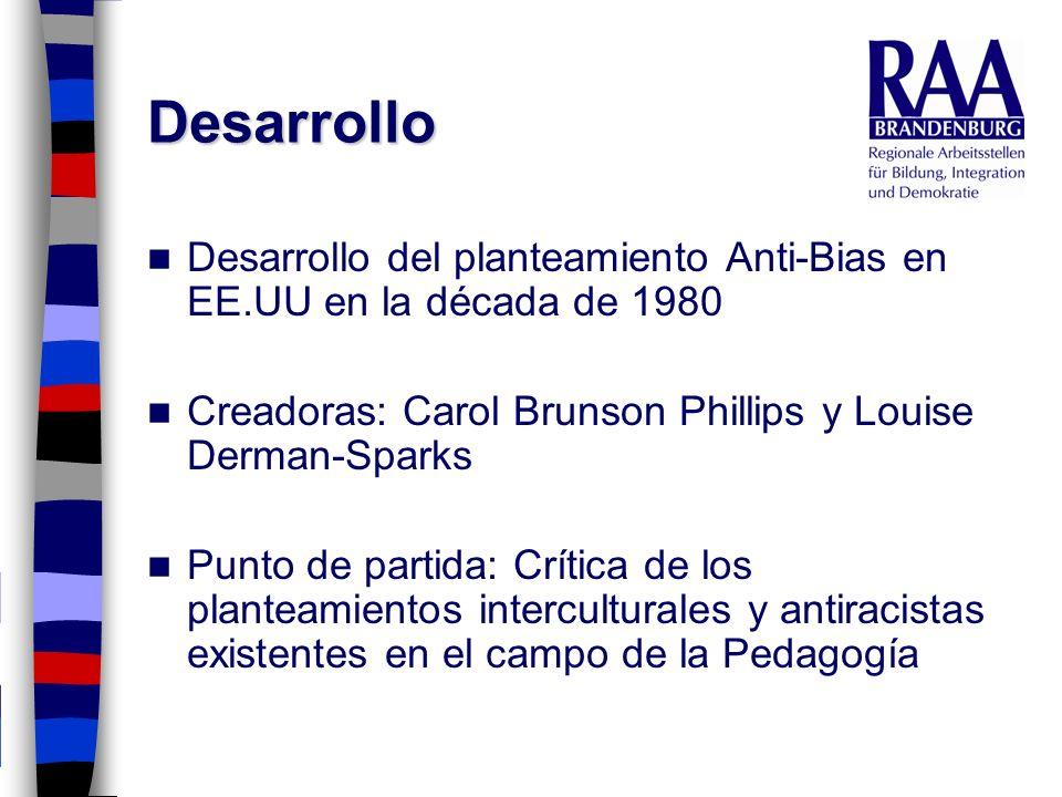 DesarrolloDesarrollo del planteamiento Anti-Bias en EE.UU en la década de 1980. Creadoras: Carol Brunson Phillips y Louise Derman-Sparks.