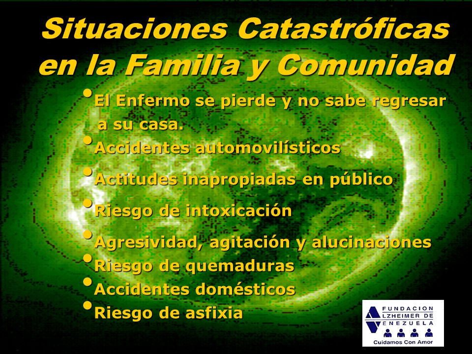 Situaciones Catastróficas en la Familia y Comunidad