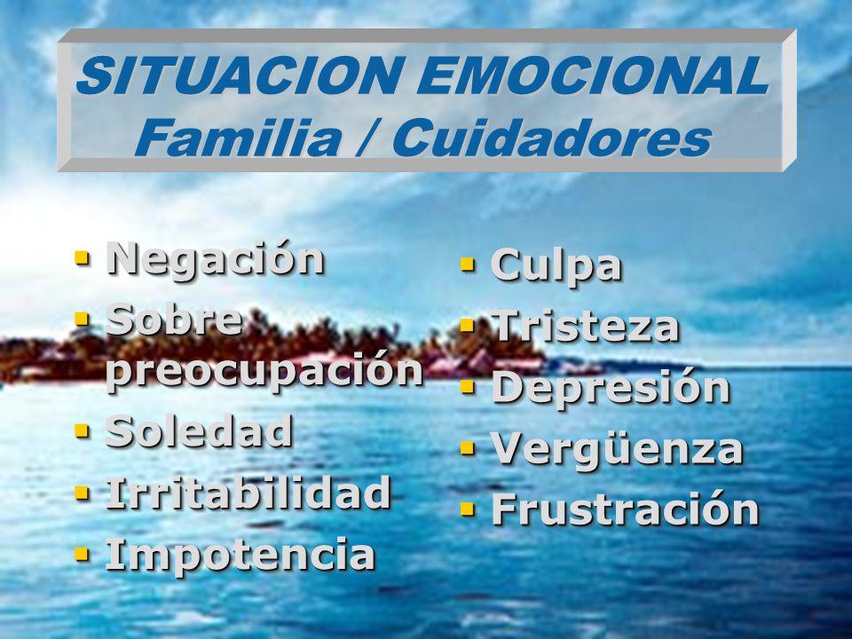 SITUACION EMOCIONAL Familia / Cuidadores
