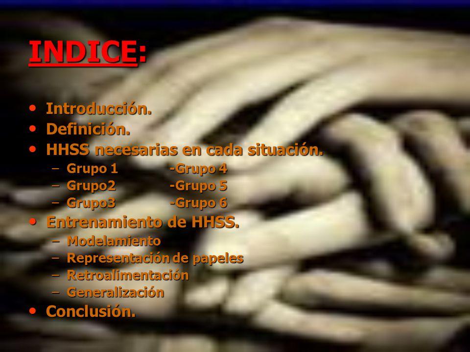INDICE: Introducción. Definición. HHSS necesarias en cada situación.