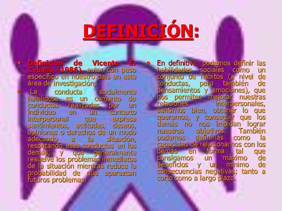DEFINICIÓN: Definición de Vicente E. Caballo (1986), autor con peso específico en nuestro país en este área de investigación;