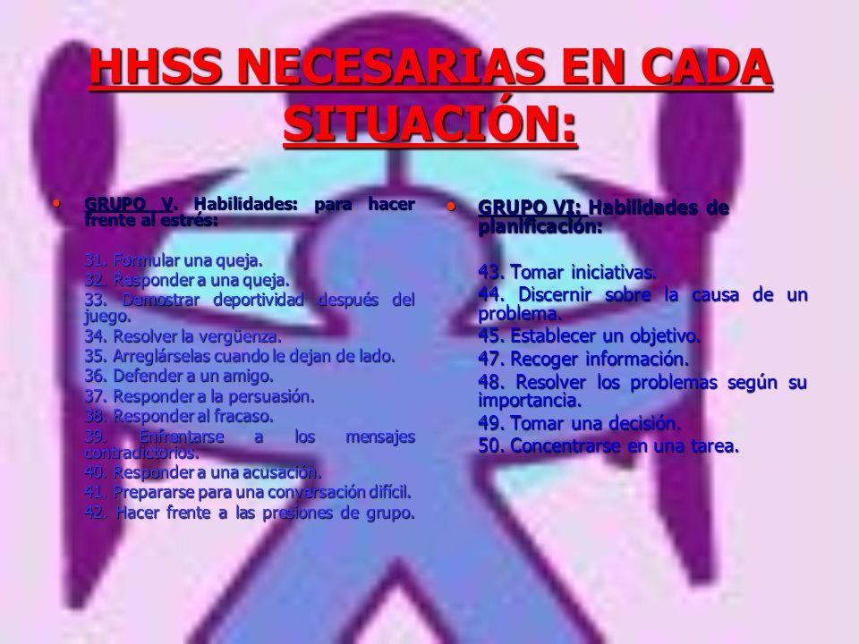 HHSS NECESARIAS EN CADA SITUACIÓN: