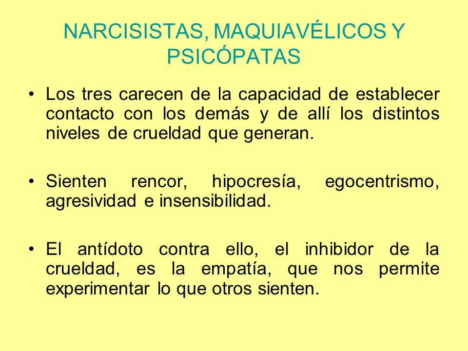 NARCISISTAS, MAQUIAVÉLICOS Y PSICÓPATAS