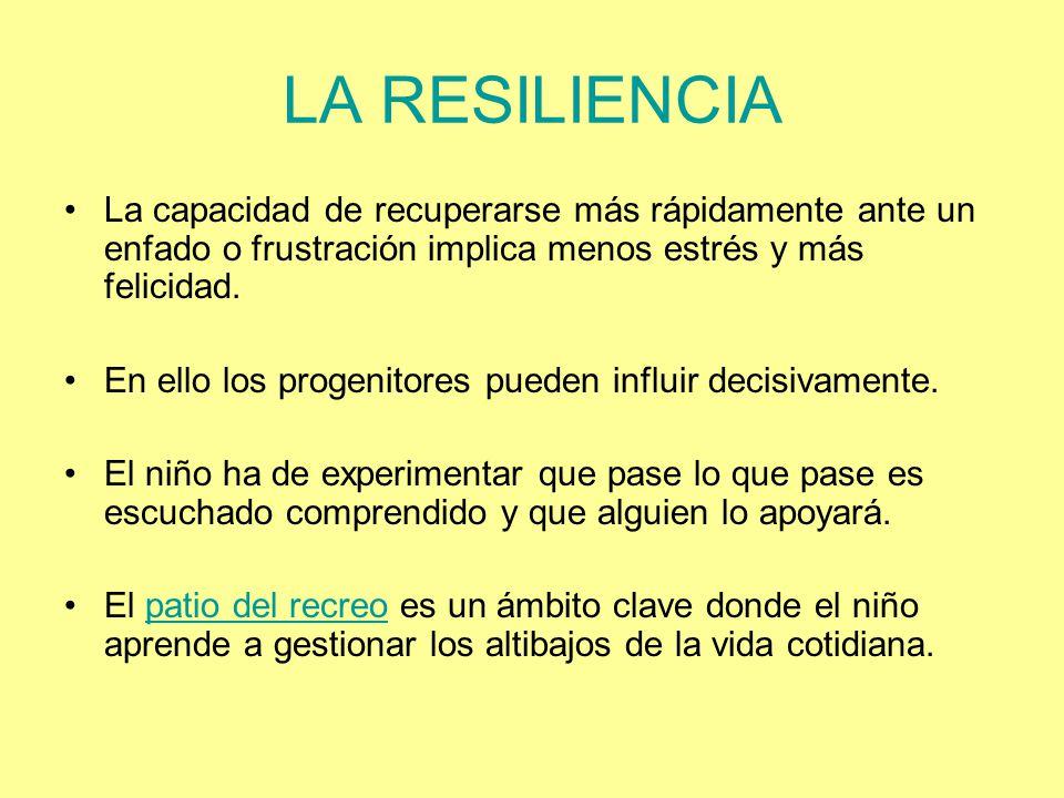 LA RESILIENCIA La capacidad de recuperarse más rápidamente ante un enfado o frustración implica menos estrés y más felicidad.