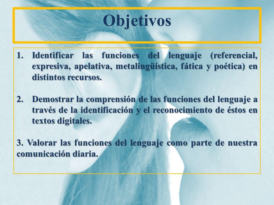 Objetivos Identificar las funciones del lenguaje (referencial, expresiva, apelativa, metalingüística, fática y poética) en distintos recursos.