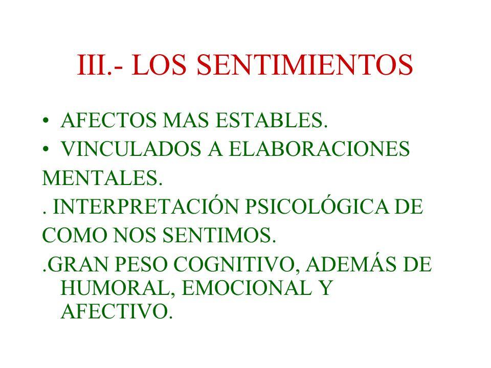 III.- LOS SENTIMIENTOS AFECTOS MAS ESTABLES.