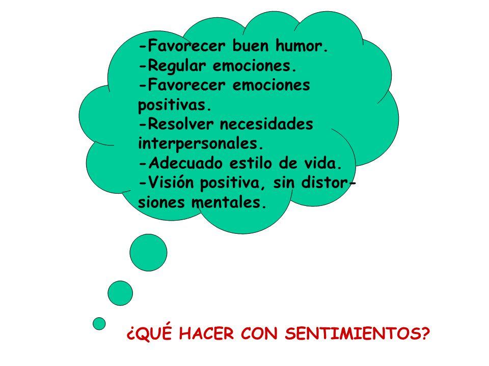 -Favorecer buen humor. -Regular emociones. -Favorecer emociones. positivas. -Resolver necesidades.