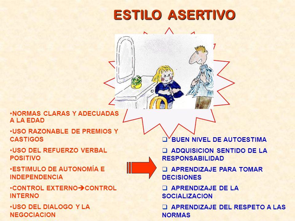 ESTILO ASERTIVO NORMAS CLARAS Y ADECUADAS A LA EDAD