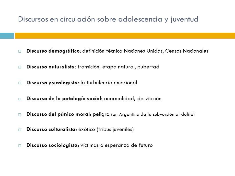 Discursos en circulación sobre adolescencia y juventud