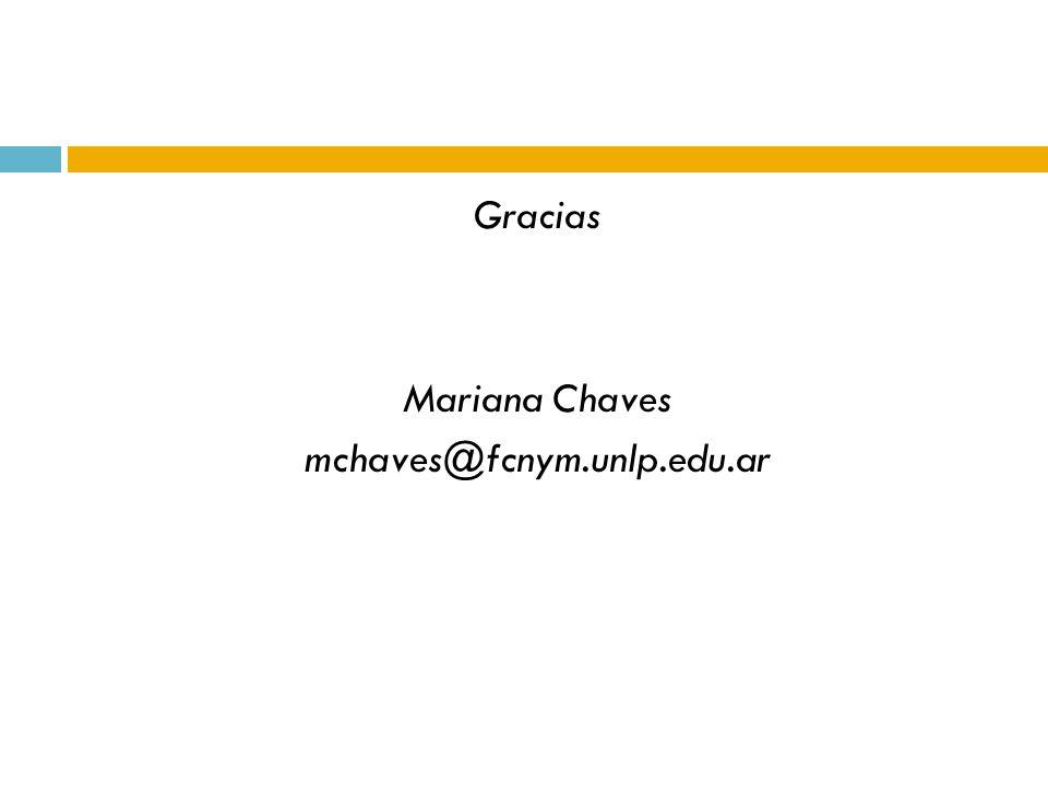 Gracias Mariana Chaves mchaves@fcnym.unlp.edu.ar