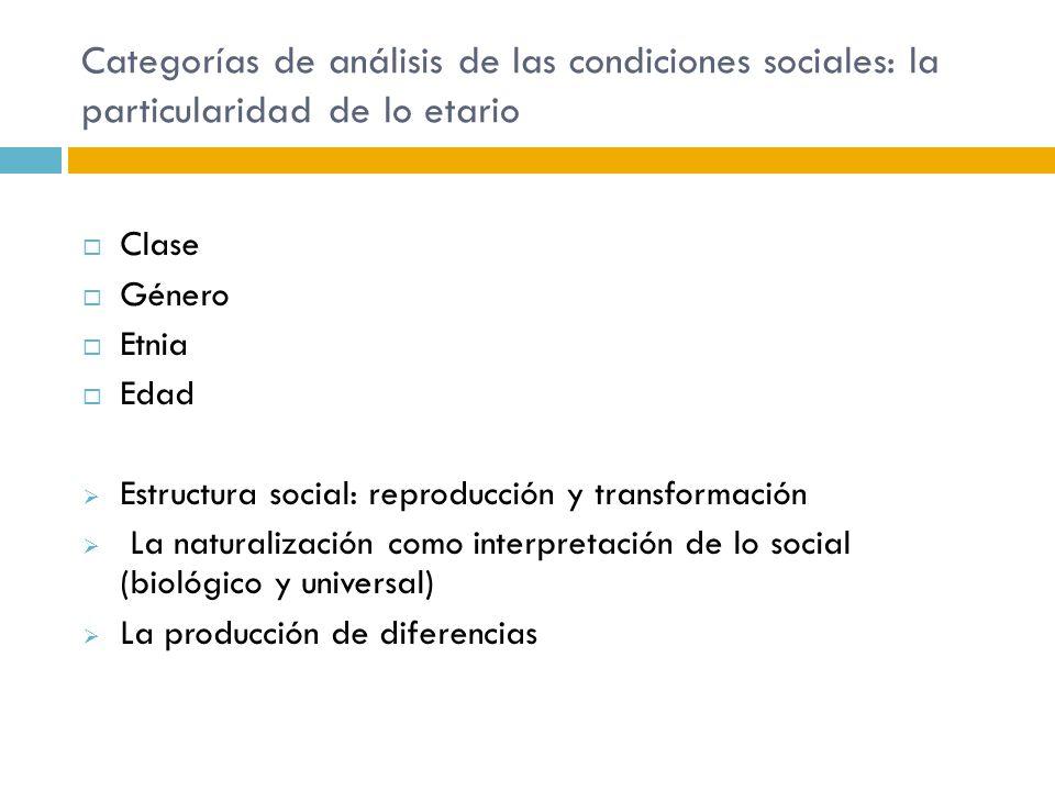 Categorías de análisis de las condiciones sociales: la particularidad de lo etario