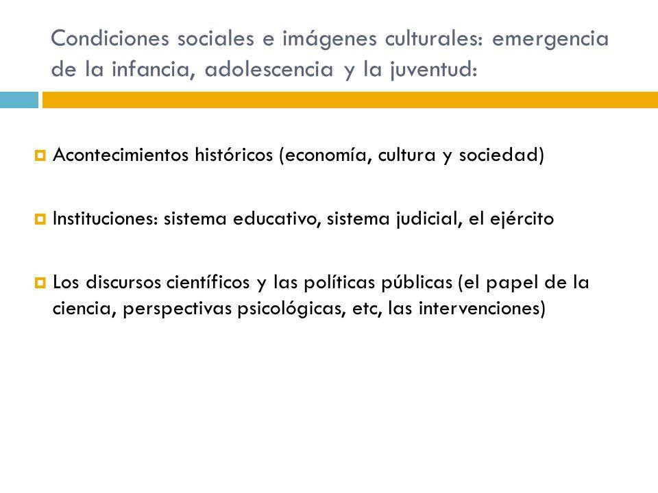 Condiciones sociales e imágenes culturales: emergencia de la infancia, adolescencia y la juventud: