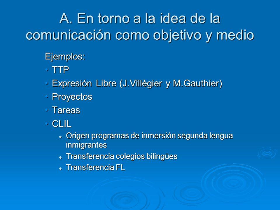 A. En torno a la idea de la comunicación como objetivo y medio