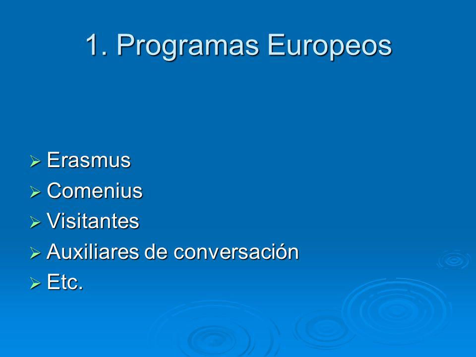 1. Programas Europeos Erasmus Comenius Visitantes
