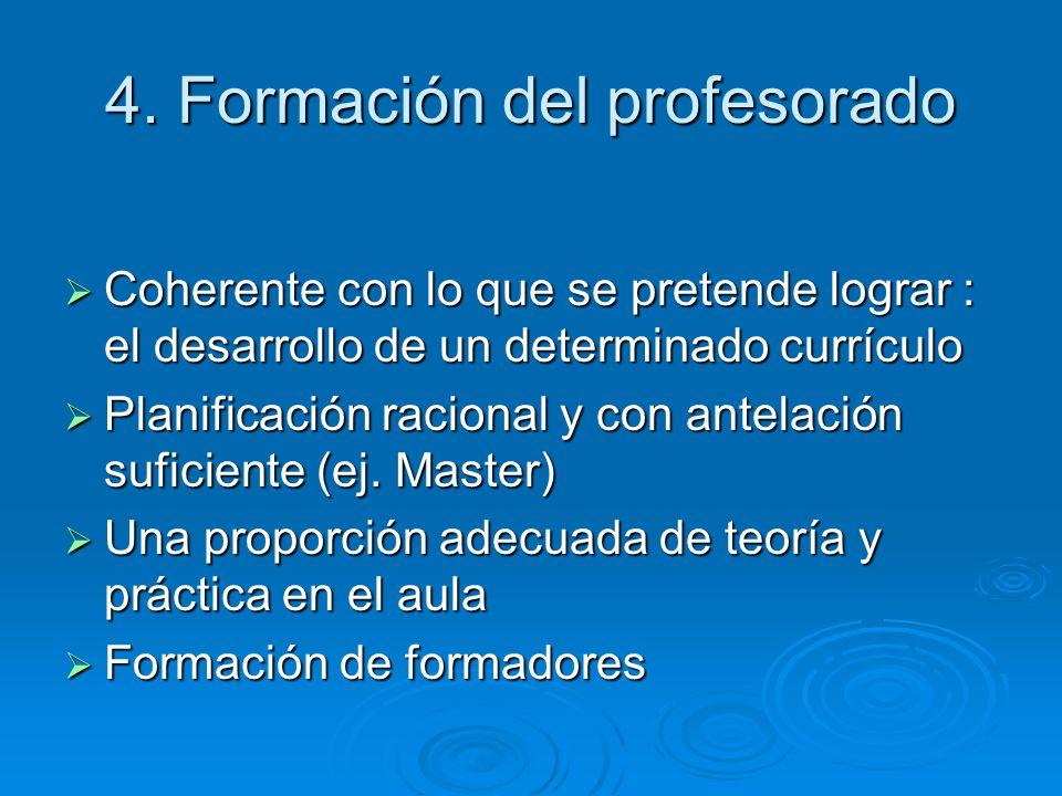 4. Formación del profesorado