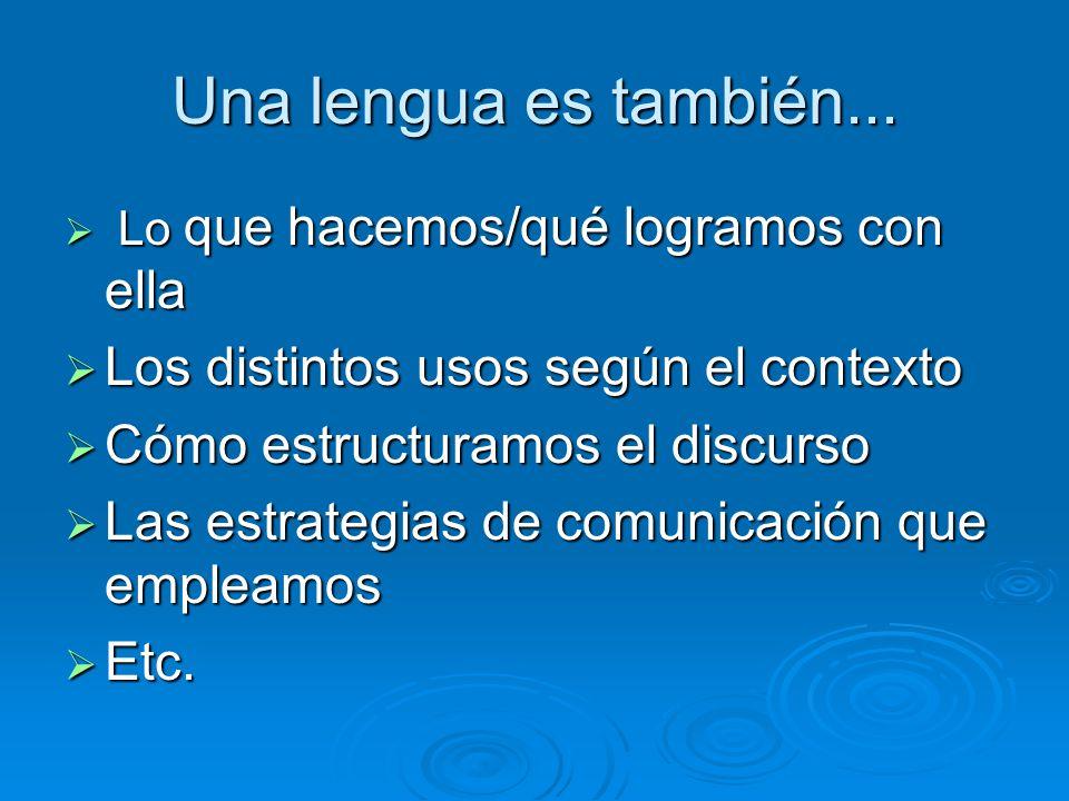 Una lengua es también... Los distintos usos según el contexto