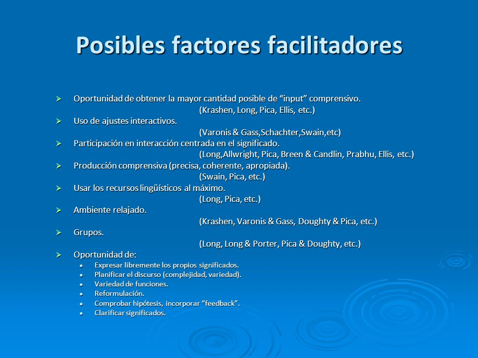 Posibles factores facilitadores