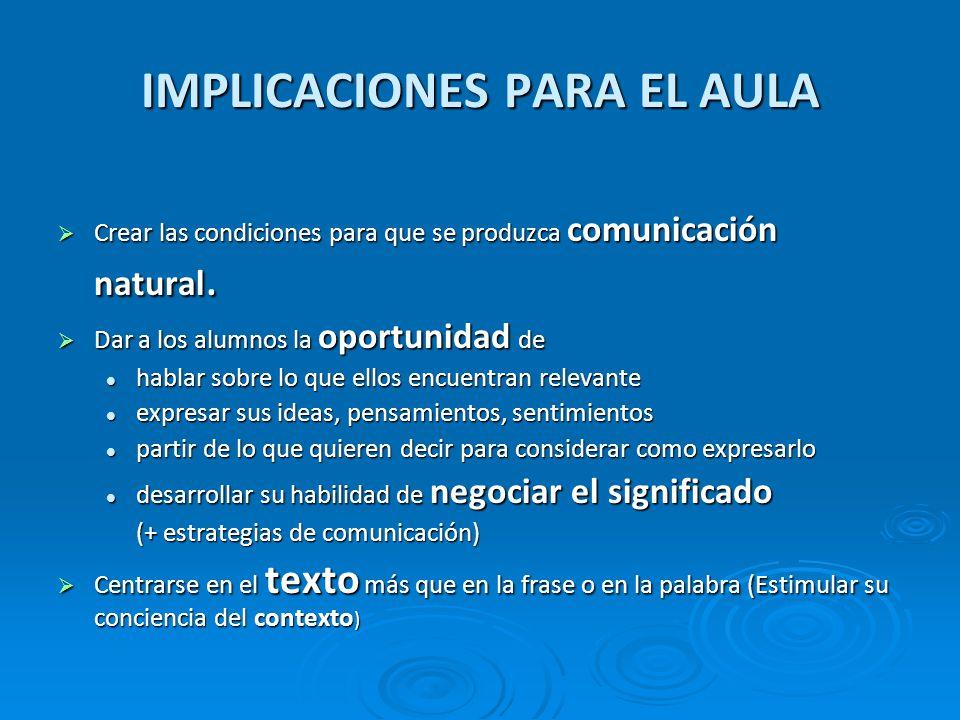IMPLICACIONES PARA EL AULA