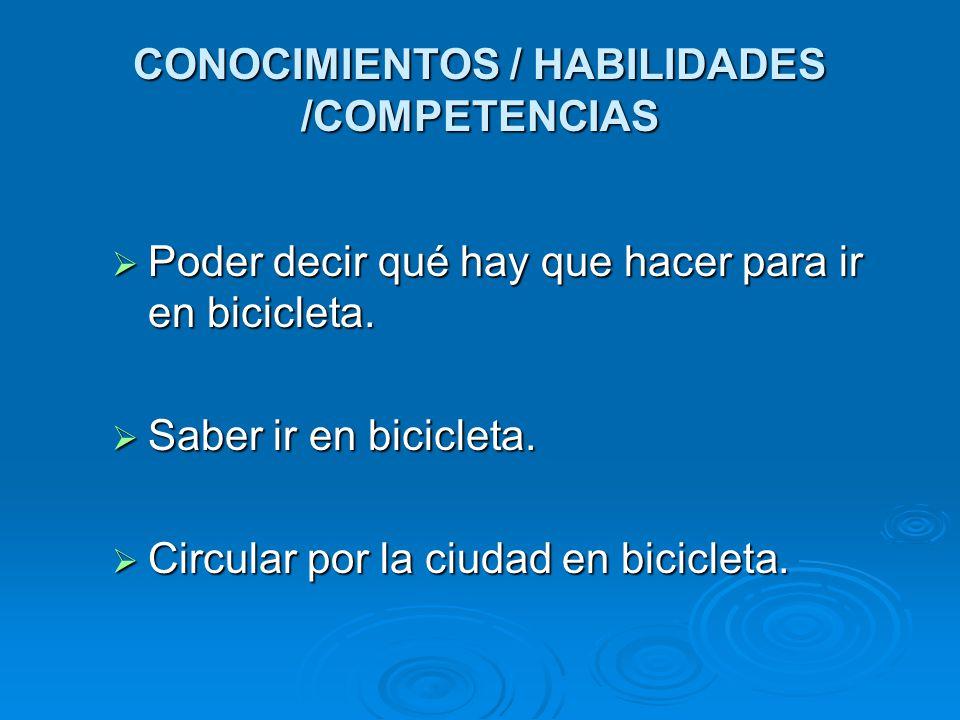 CONOCIMIENTOS / HABILIDADES /COMPETENCIAS