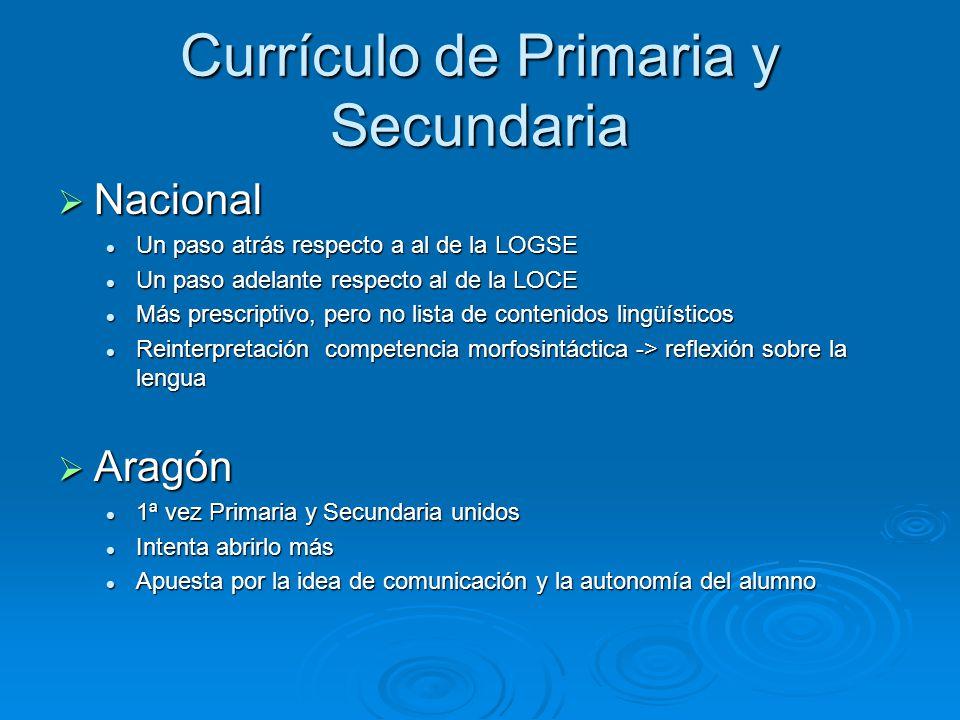 Currículo de Primaria y Secundaria