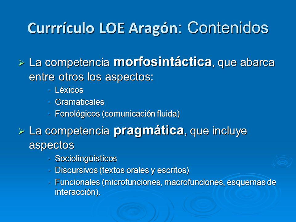 Currrículo LOE Aragón: Contenidos