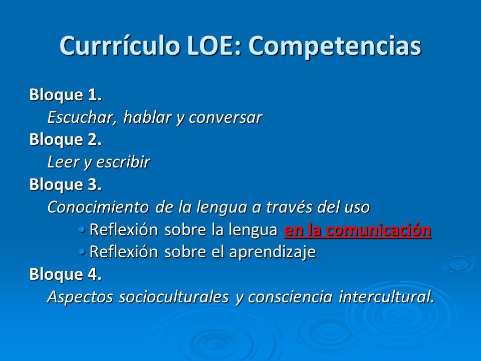 Currrículo LOE: Competencias