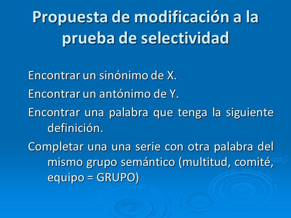 Propuesta de modificación a la prueba de selectividad