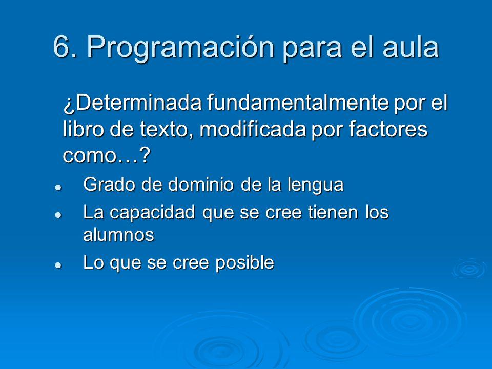 6. Programación para el aula