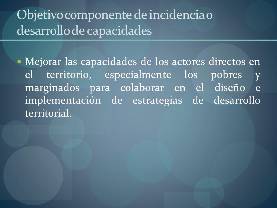Objetivo componente de incidencia o desarrollo de capacidades