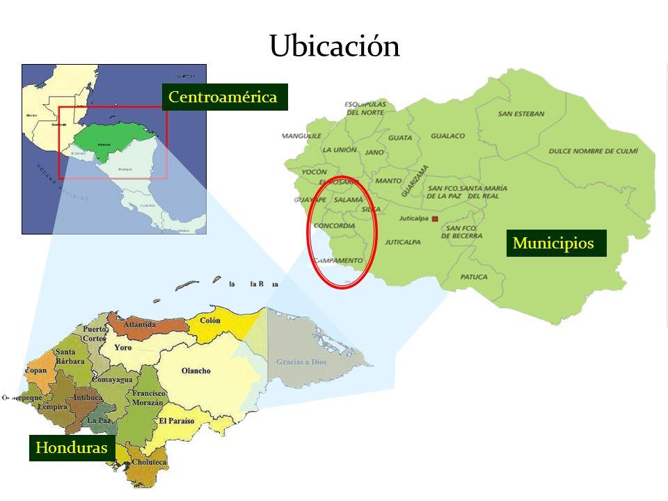 Ubicación Centroamérica Municipios Honduras