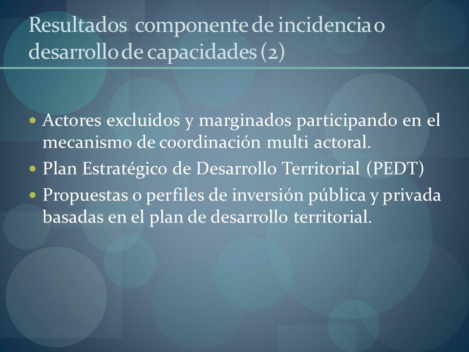 Resultados componente de incidencia o desarrollo de capacidades (2)