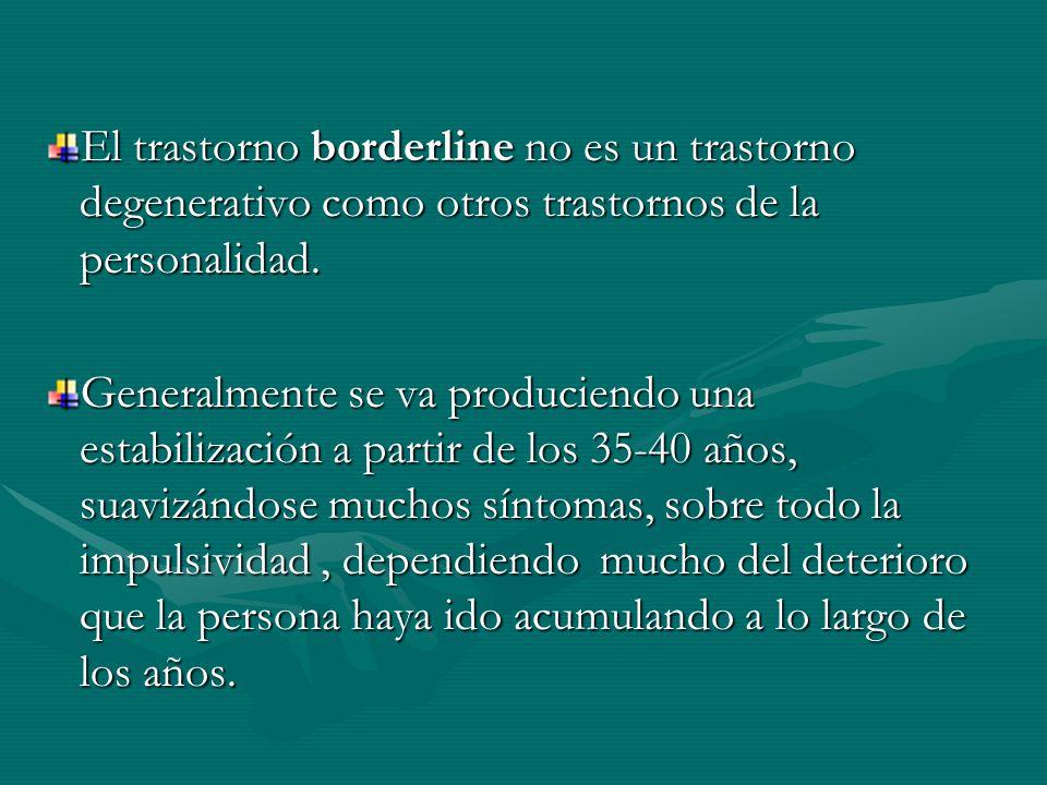 El trastorno borderline no es un trastorno degenerativo como otros trastornos de la personalidad.