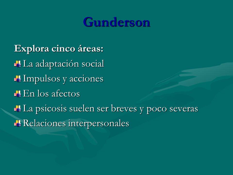 Gunderson Explora cinco áreas: La adaptación social