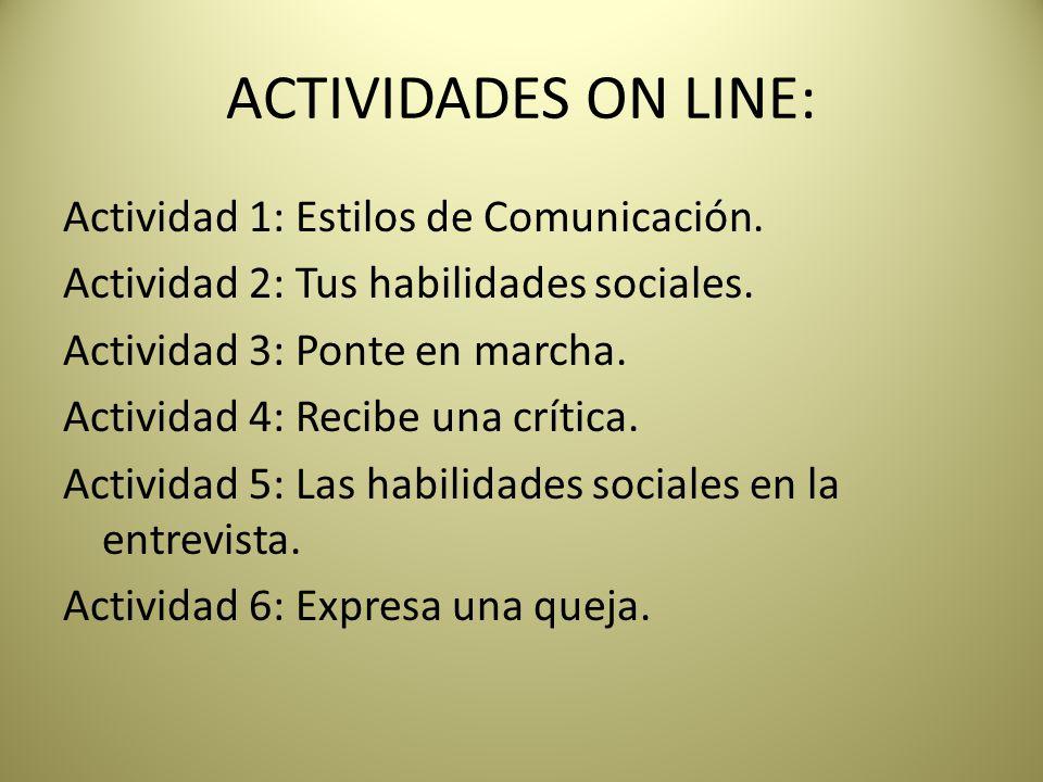 ACTIVIDADES ON LINE:
