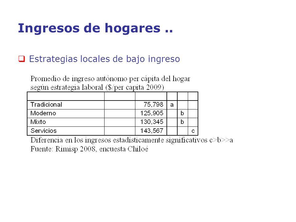 Ingresos de hogares .. Estrategias locales de bajo ingreso