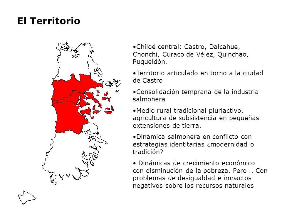El Territorio Chiloé central: Castro, Dalcahue, Chonchi, Curaco de Vélez, Quinchao, Puqueldón. Territorio articulado en torno a la ciudad de Castro.