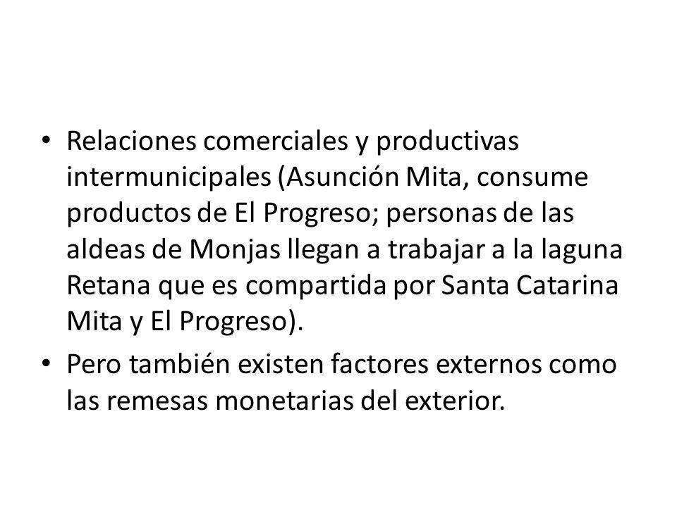 Relaciones comerciales y productivas intermunicipales (Asunción Mita, consume productos de El Progreso; personas de las aldeas de Monjas llegan a trabajar a la laguna Retana que es compartida por Santa Catarina Mita y El Progreso).