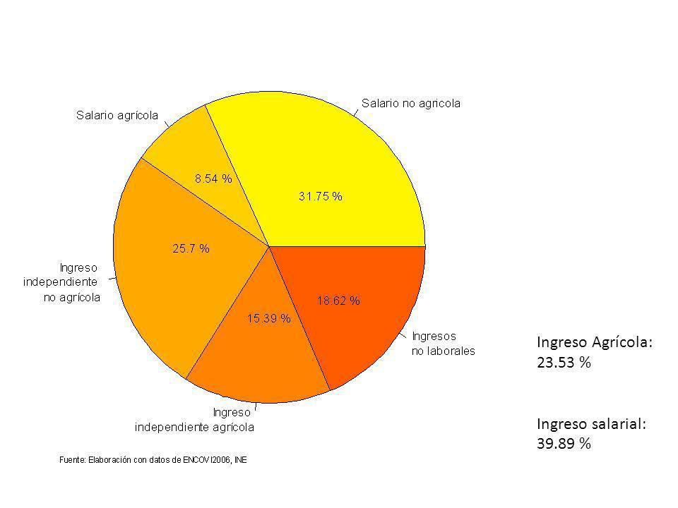 Ingreso Agrícola: 23.53 % Ingreso salarial: 39.89 %