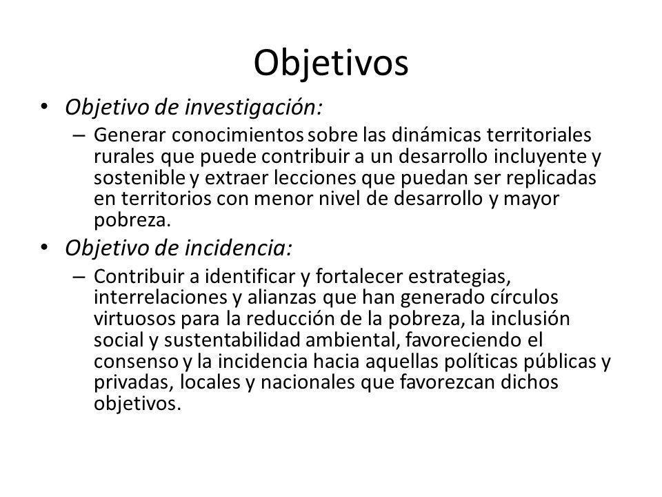 Objetivos Objetivo de investigación: Objetivo de incidencia: