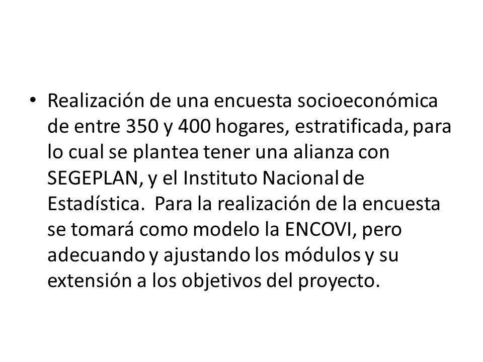 Realización de una encuesta socioeconómica de entre 350 y 400 hogares, estratificada, para lo cual se plantea tener una alianza con SEGEPLAN, y el Instituto Nacional de Estadística.
