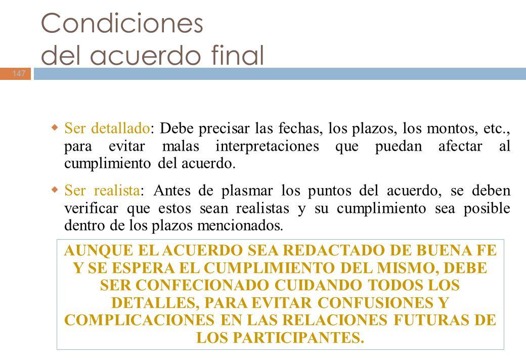 Condiciones del acuerdo final