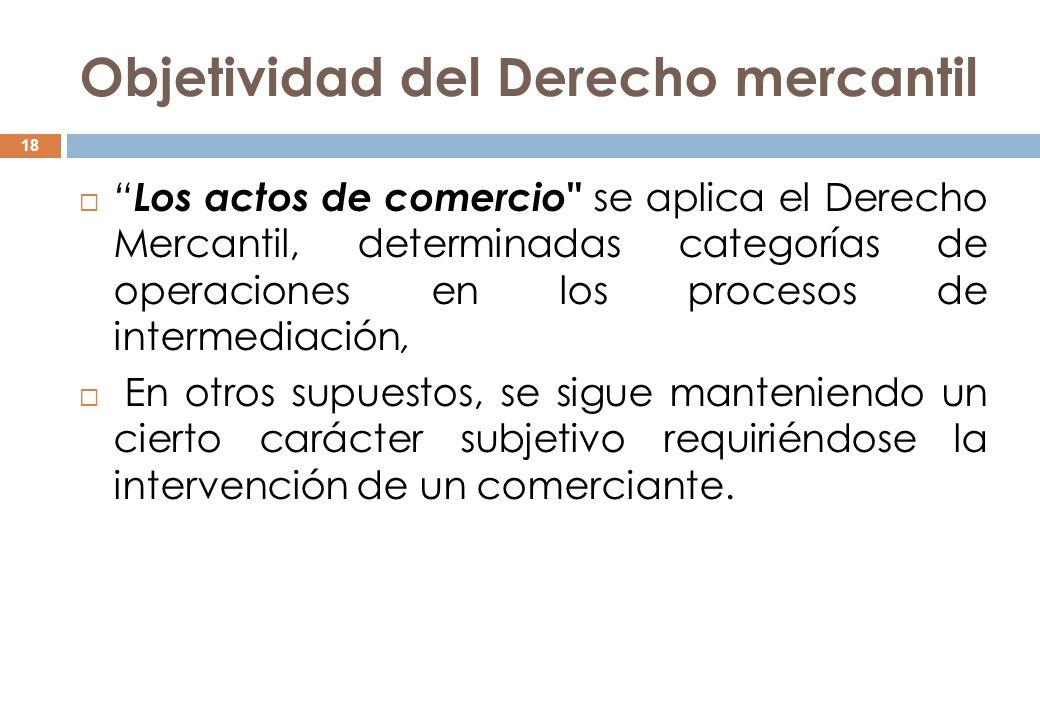 Objetividad del Derecho mercantil