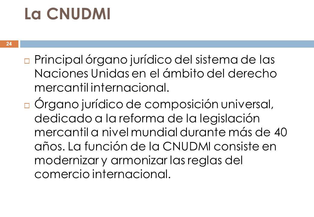La CNUDMI Principal órgano jurídico del sistema de las Naciones Unidas en el ámbito del derecho mercantil internacional.