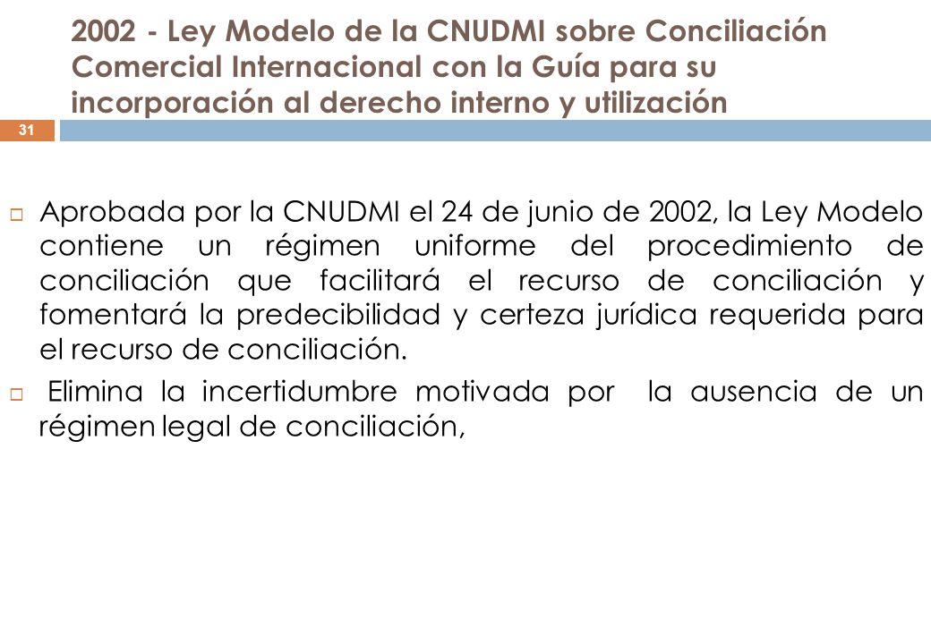 2002 - Ley Modelo de la CNUDMI sobre Conciliación Comercial Internacional con la Guía para su incorporación al derecho interno y utilización