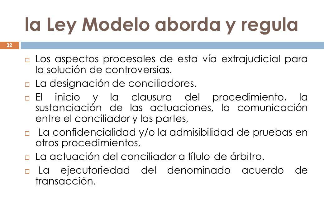 la Ley Modelo aborda y regula
