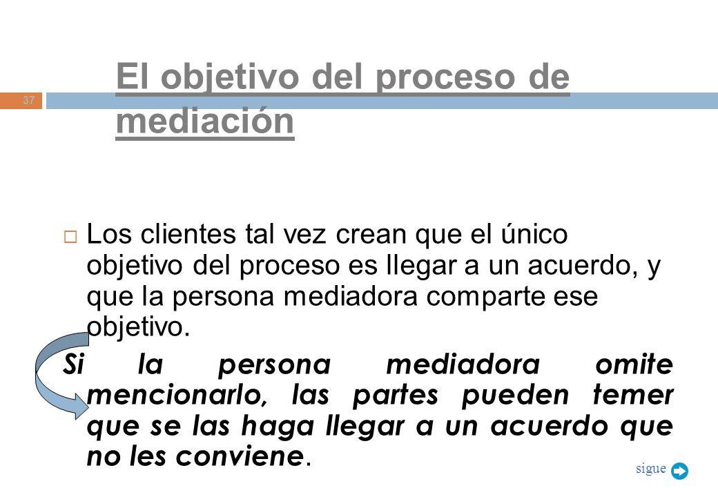 El objetivo del proceso de mediación