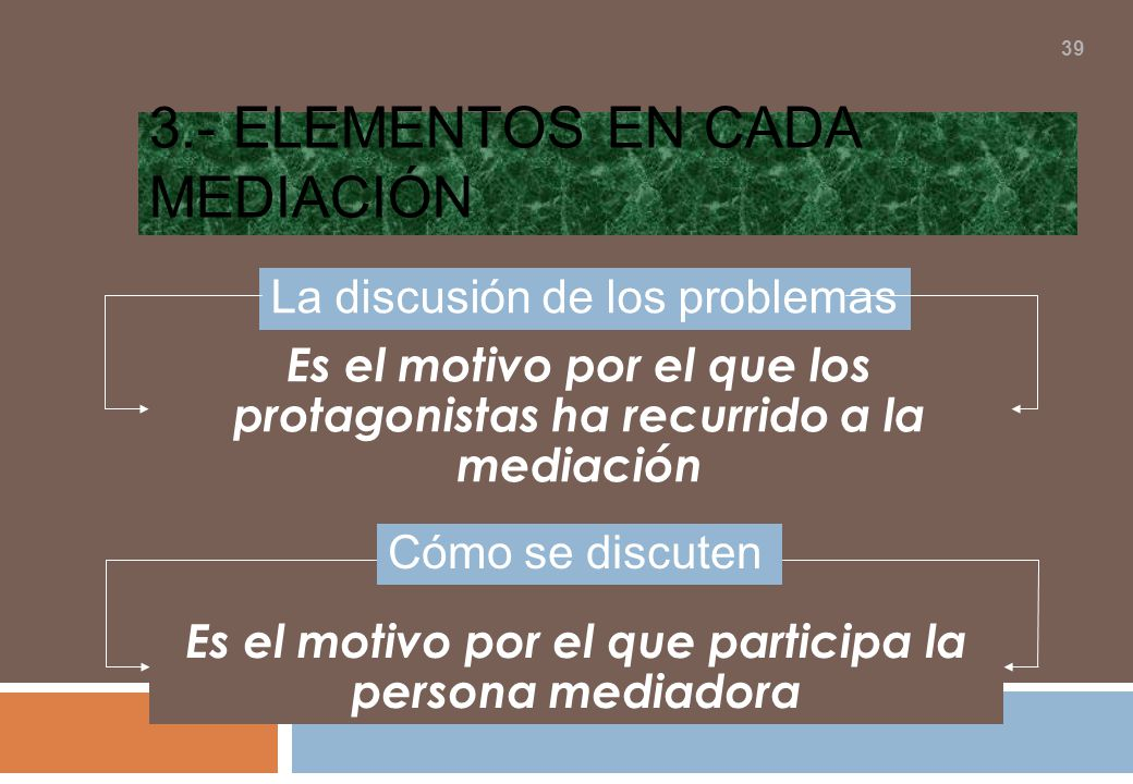 3.- Elementos en cada mediación