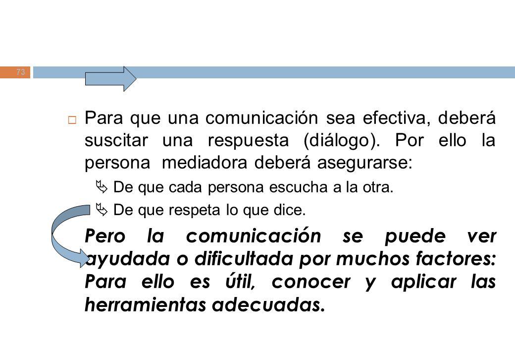 Para que una comunicación sea efectiva, deberá suscitar una respuesta (diálogo). Por ello la persona mediadora deberá asegurarse: