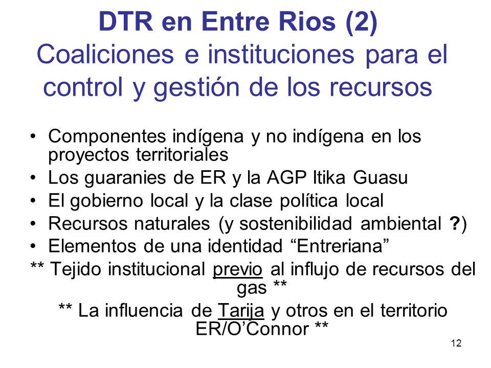 DTR en Entre Rios (2) Coaliciones e instituciones para el control y gestión de los recursos