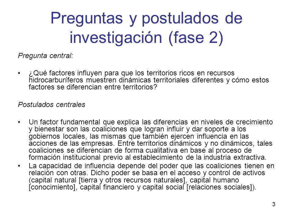 Preguntas y postulados de investigación (fase 2)
